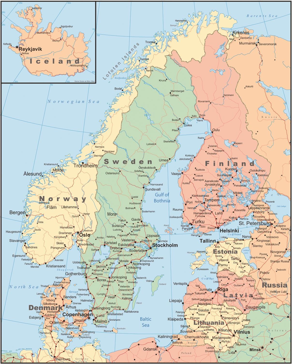 Denemarken Landkaart Kaart Van Denemarken En De Omliggende